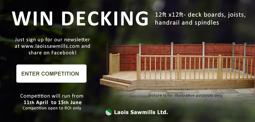 Win decking form Laois Sawmills and Laois Garden World