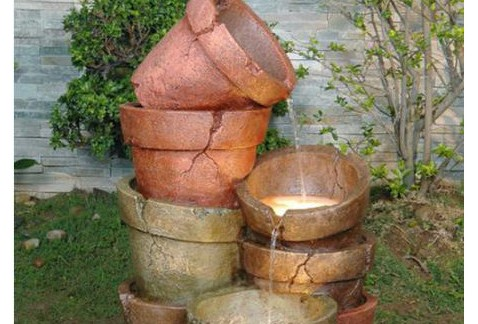 Stacked Clay Pot Cascade Water Feature