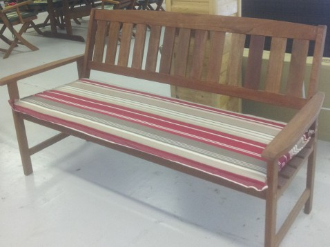 3 Seater Hardwood Garden Bench With Cushion