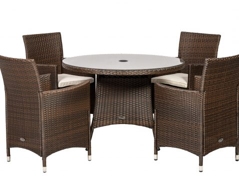 4 seater Cannes Mocha Brown round dining set.
