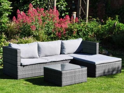 Grey Rattan Corner Sofa Set